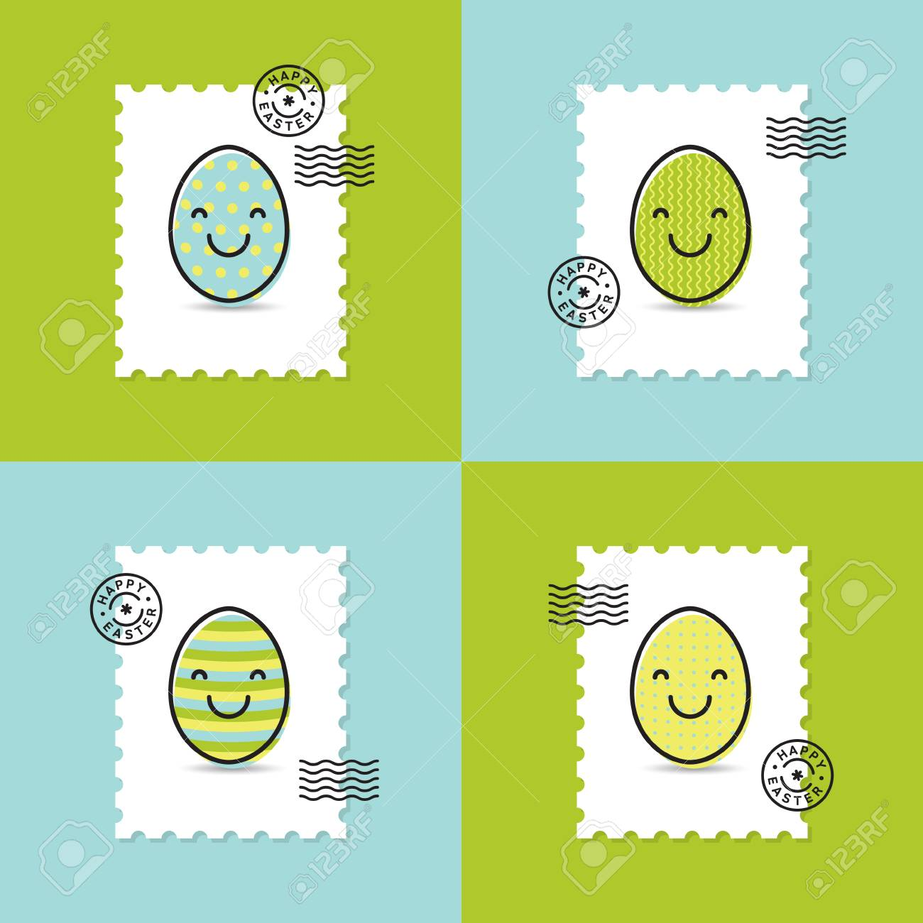 Set of postage stamp with easter painted egg smiley happy easter set of postage stamp with easter painted egg smiley happy easter greeting cards stock photo m4hsunfo
