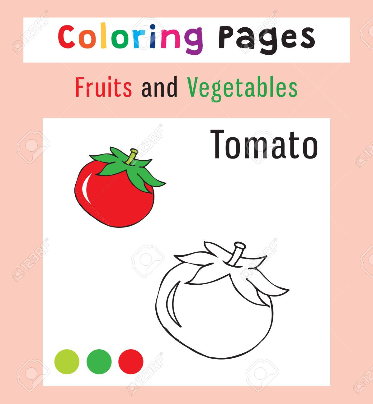 Vector Preschool Children For Coloring Book Pages Vegetables Royalty Free Cliparts Vectors And Stock Illustration Image 145933333