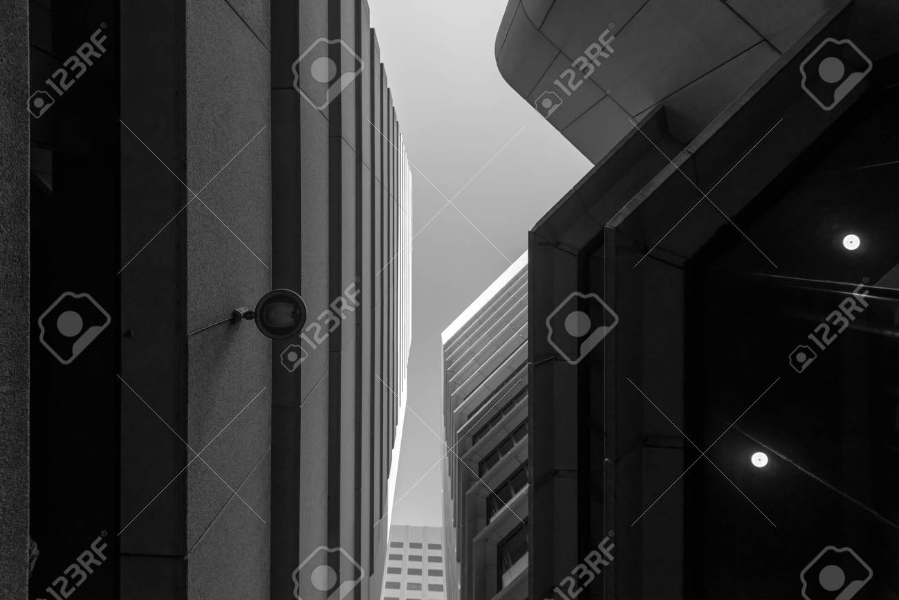 Black and white upward view of adelaide skyscrapers stock photo 58799340