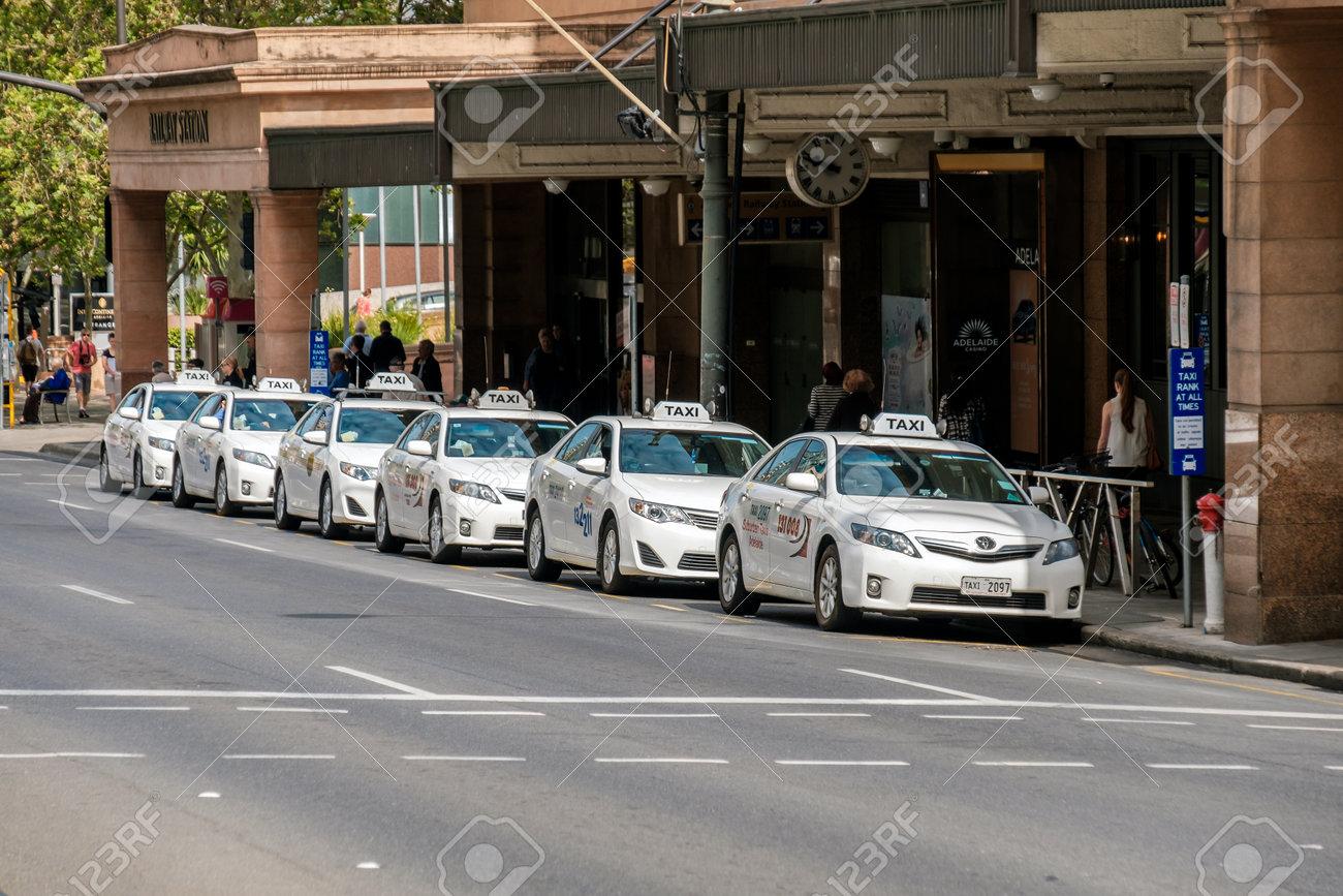 Adelaide Australia November 11 2016 Taxi Cars Near Adelaide