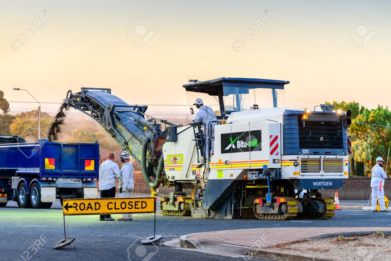 Adelaide, South Australia - November 27, 2017: Night works for