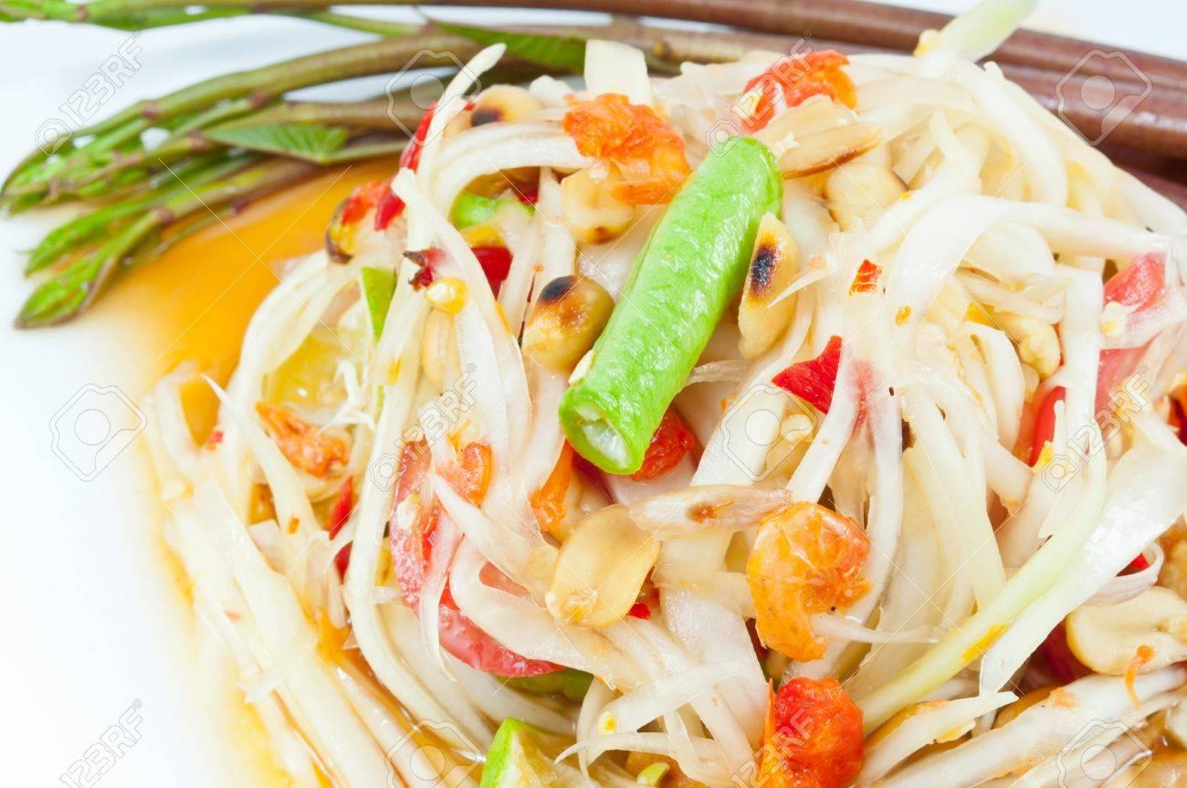 Thai papaya salad or Som Tum (traditional and modern thai food) Stock Photo - 14811089