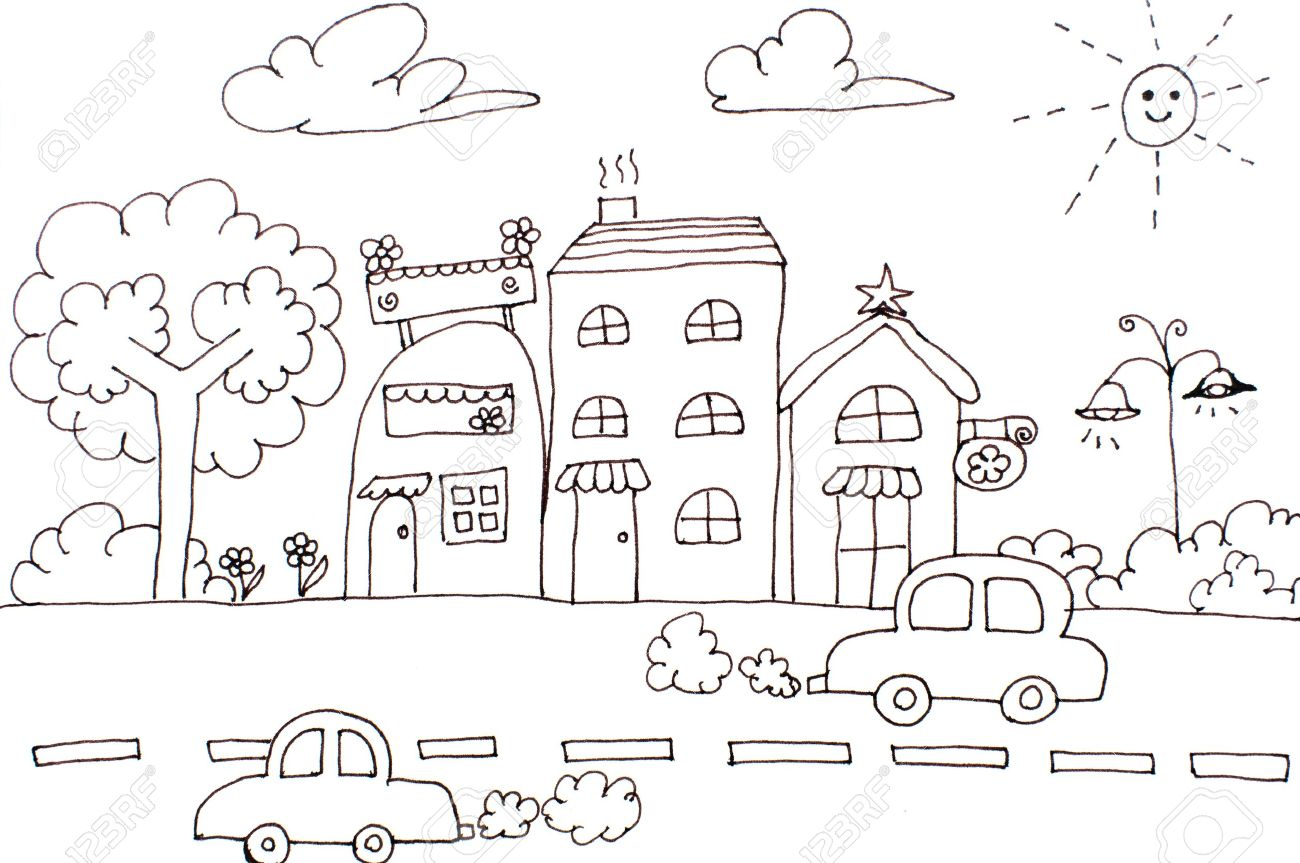 Hand Drawing City House Car And Tree Cartoon Of Dreams Lovely Card