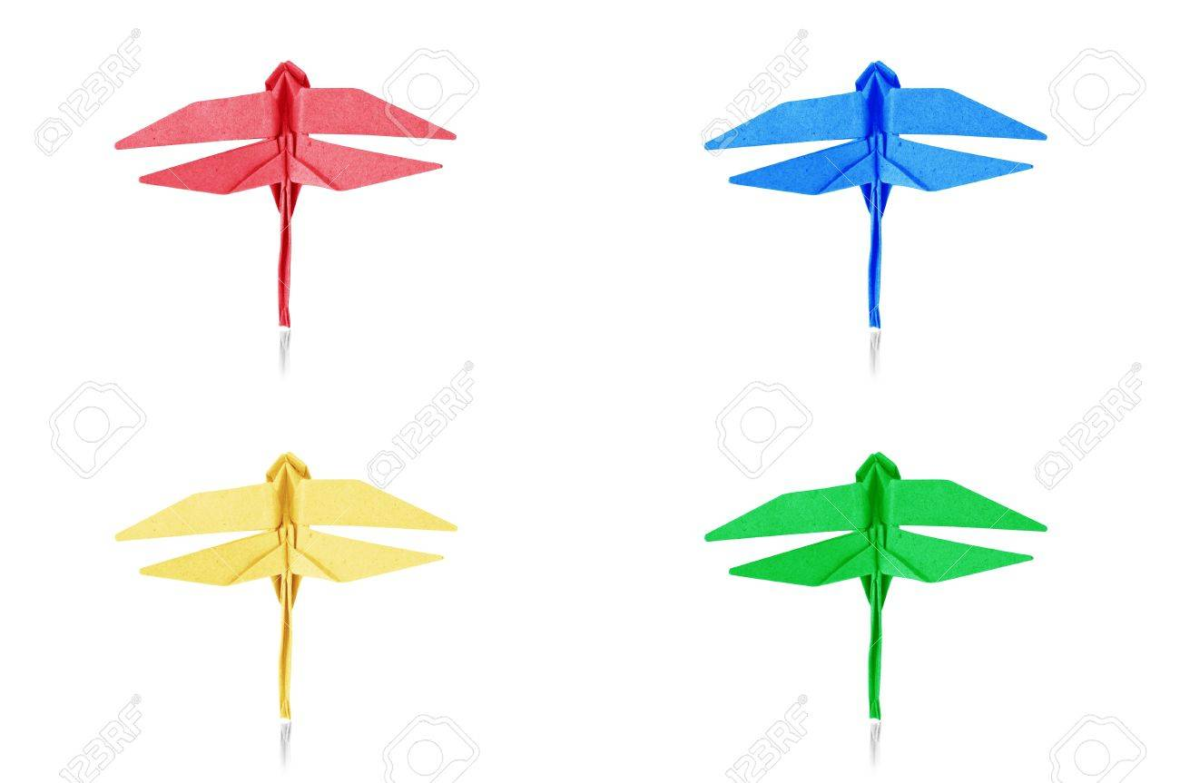 Origami blue paper dragonfly on white background stock photo origami blue paper dragonfly on white background stock photo 15402375 jeuxipadfo Image collections