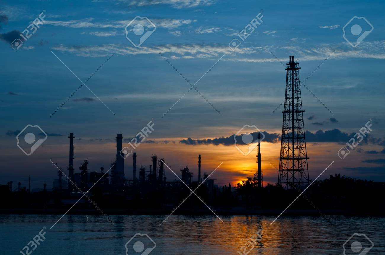 Sunrise the Oil refinery at Chao Phraya river, Bangkok Thailand Stock Photo - 16251748