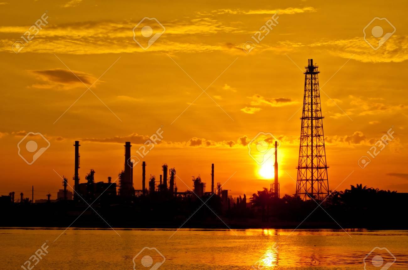 Sunrise the Oil refinery at Chao Phraya river, Bangkok Thailand Stock Photo - 16251793