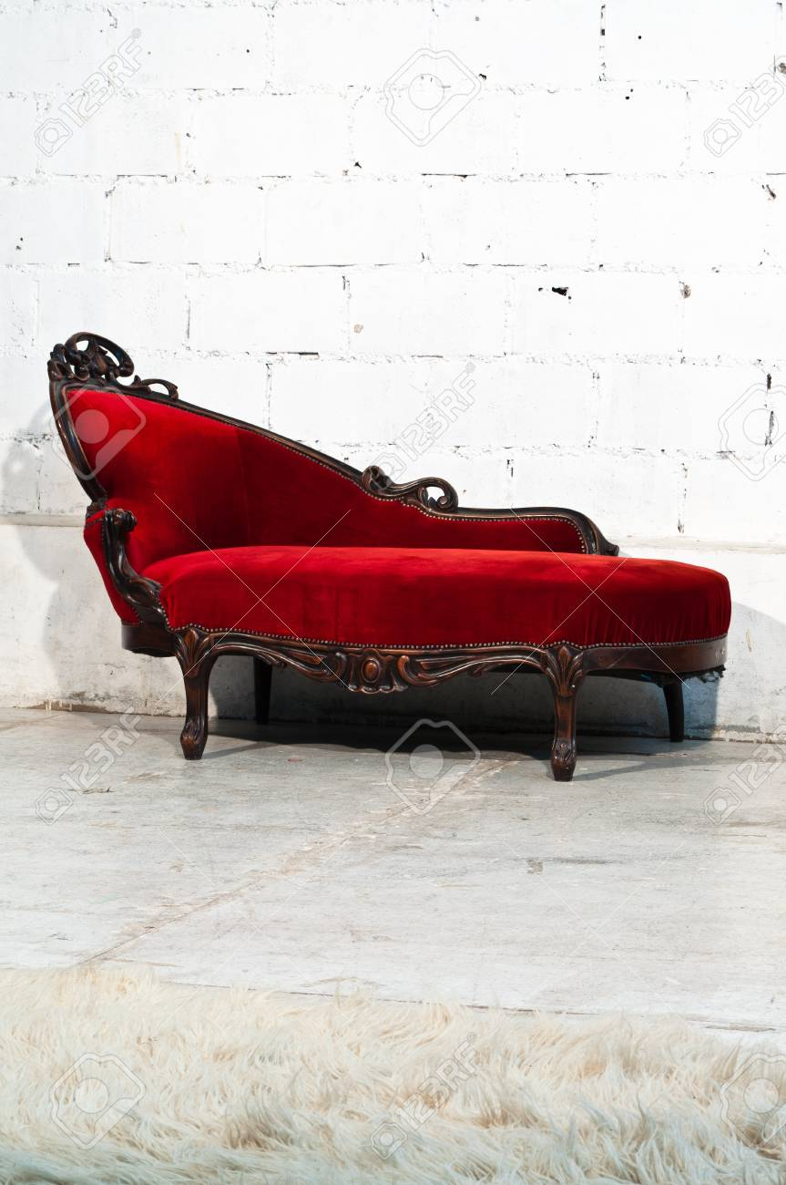 Modern Red Sofa Contemporary And Classic Style. Stock Photo, Picture ...