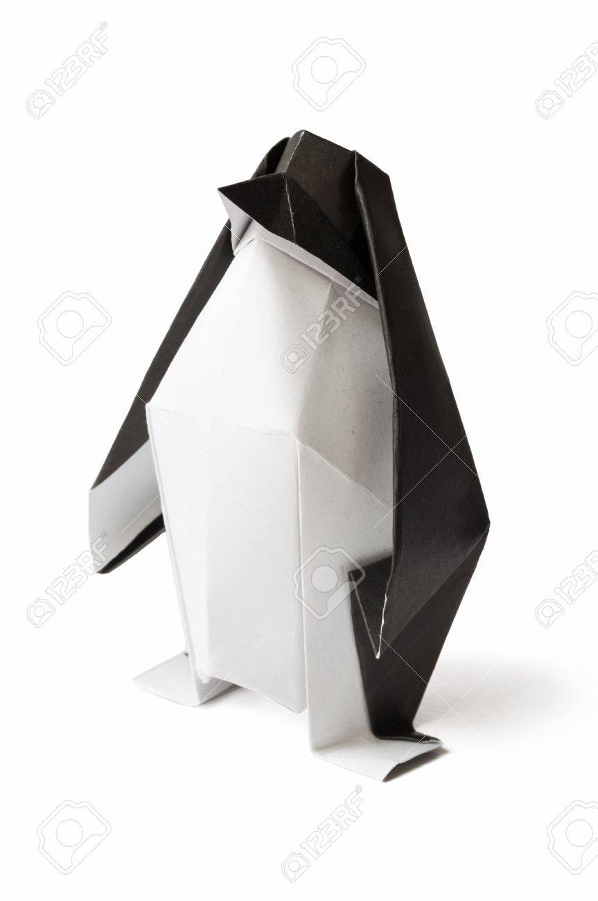Origami Penguin On A White Background Stock Photo