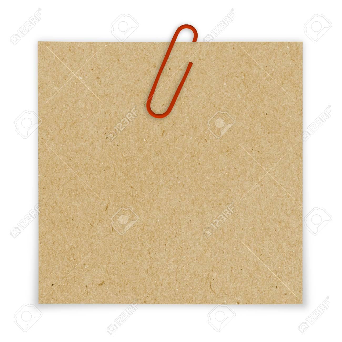 Helles Braunes Papier Leer Mit Roten Buroklammer Auf Weissem