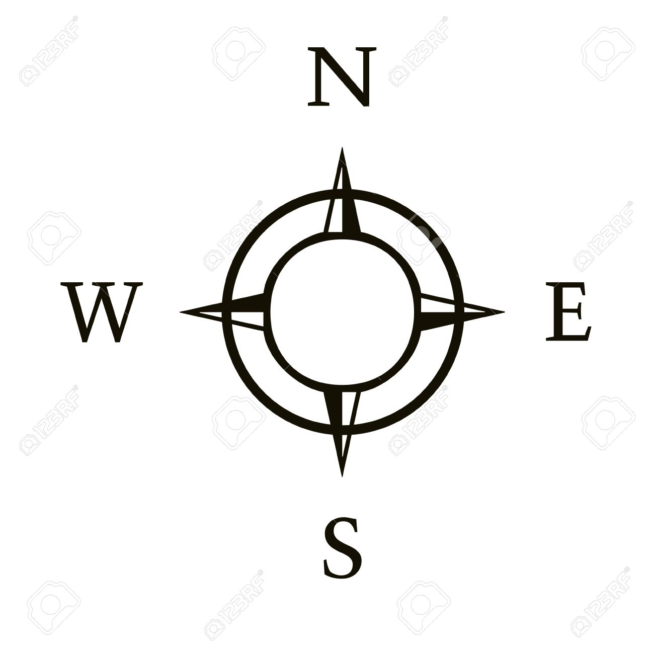 compass illustration with north south east west stock photo picture