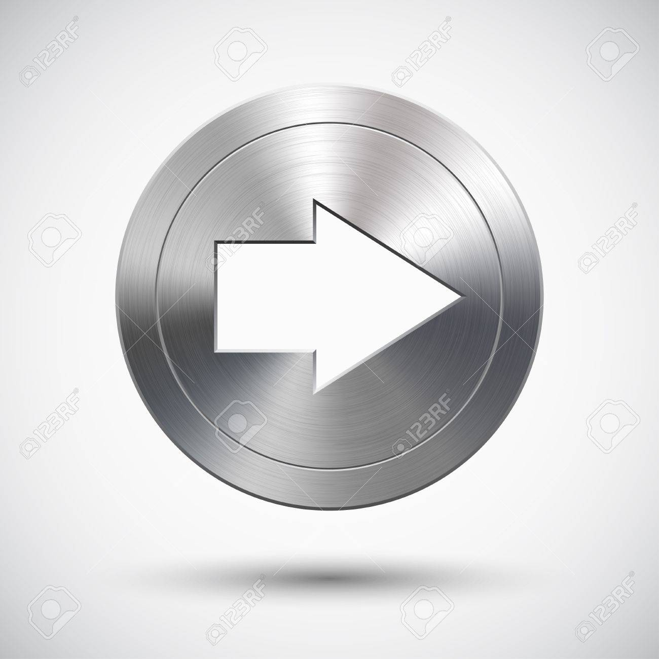Button with metal (chrome) texture, right arrow sign, light background and shadow Stock Vector - 15085524