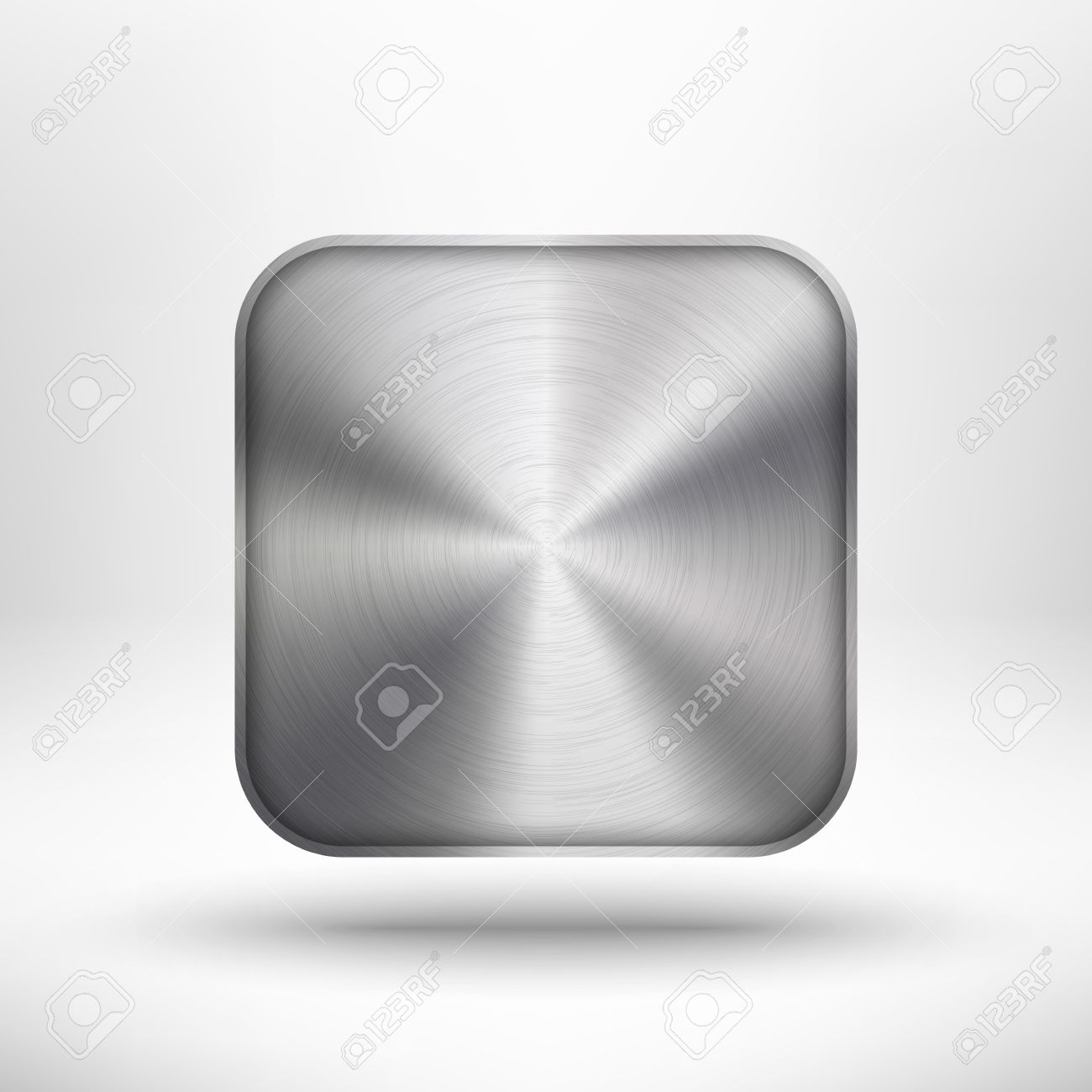 Abstract technology icon button with metal texture, stainless steel, chrome, silver, realistic shadow and light background for internet sites, web user interfaces, ui and applications, app Stock Vector - 16447133