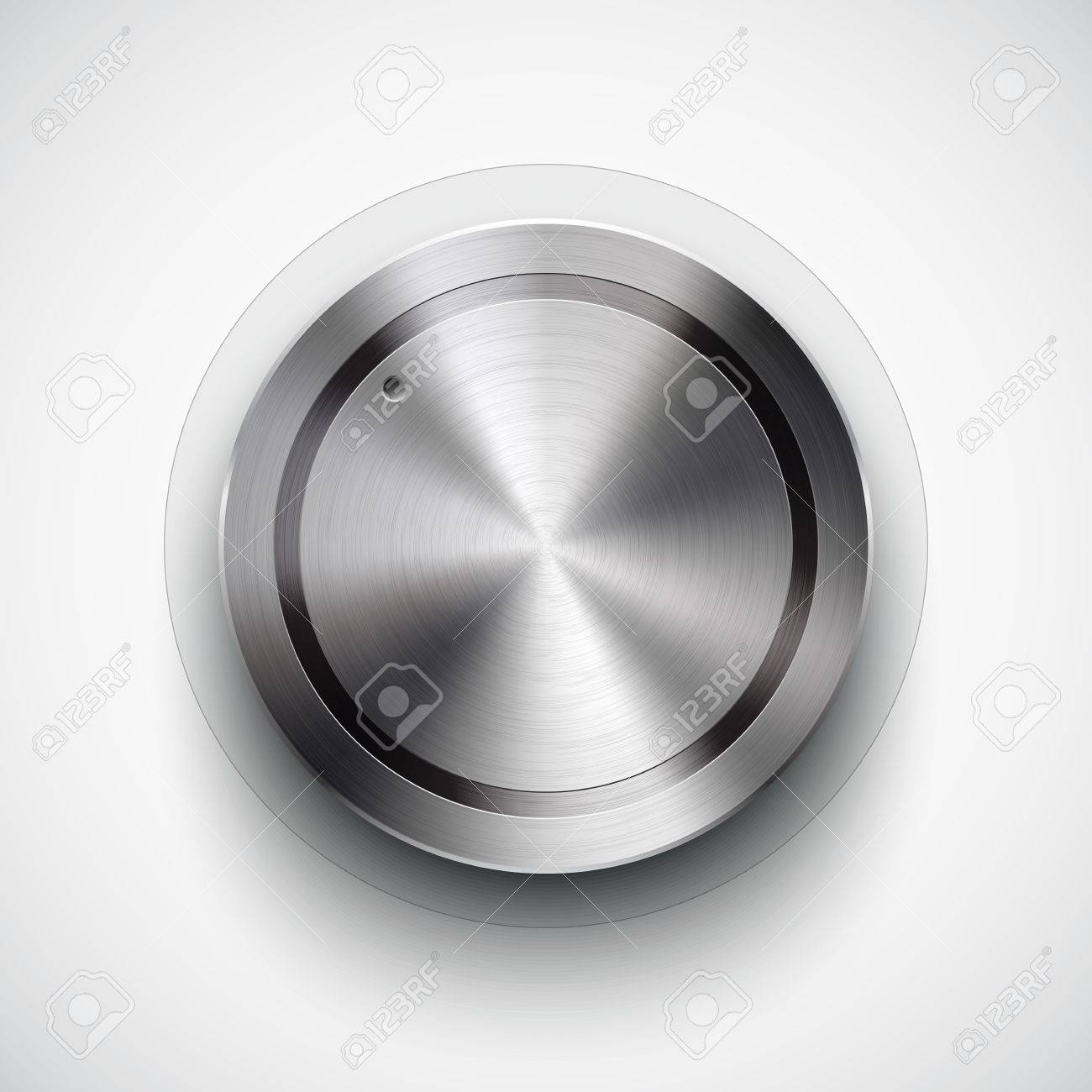 Abstract technology icon, button with metal texture, stainless steel, chrome, silver, realistic shadow and light background for internet sites, web user interfaces, ui and applications, app Stock Vector - 16447124