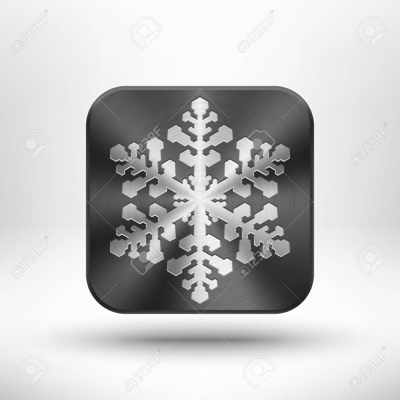 Abstract Christmas snowflake icon with metal texture  chrome, stainless steel, silver , shadow and light background for internet sites, web user interfaces  ui  and applications  app   Winter holidays Stock Vector - 17192136
