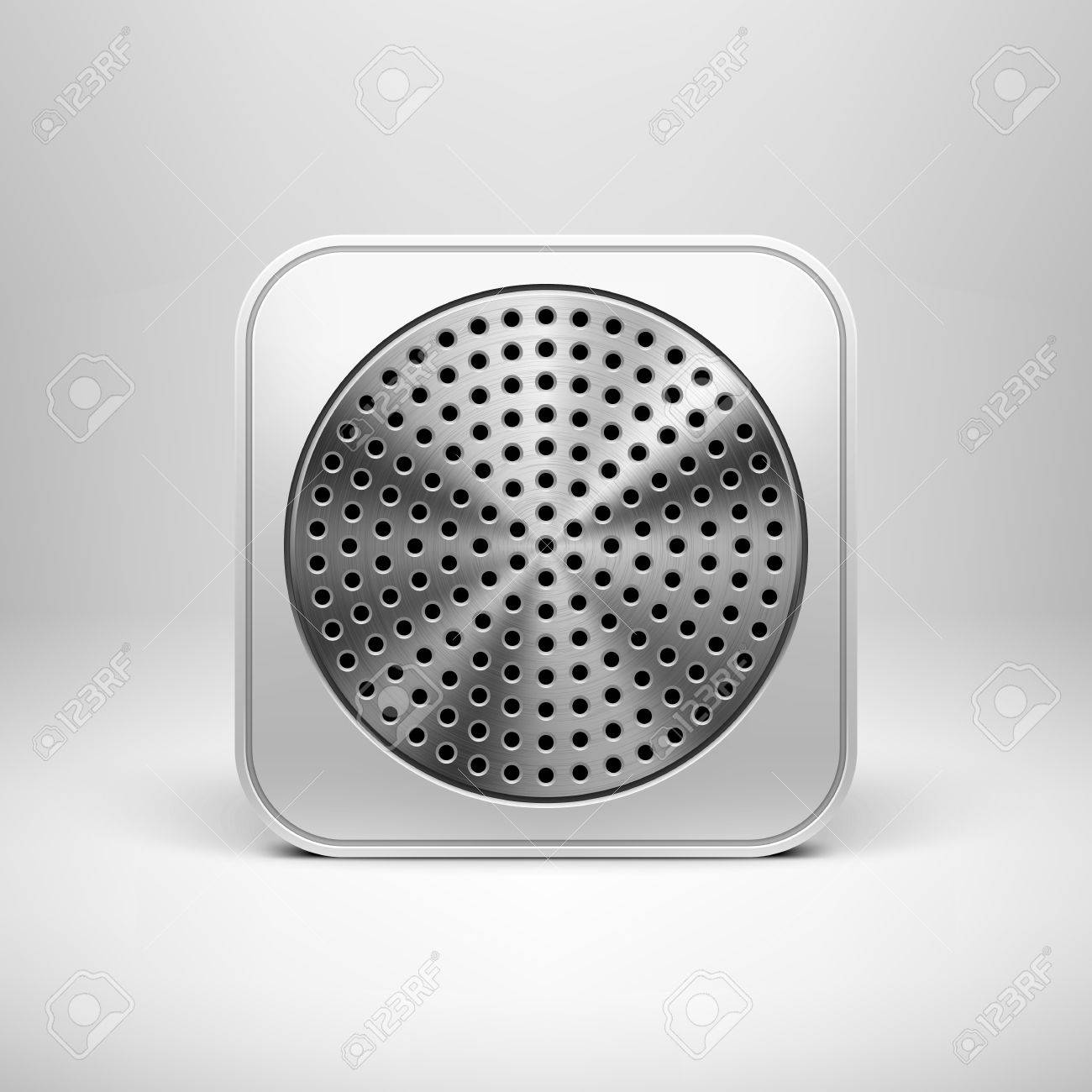 Technology app icon  button  blank template with circle perforated speaker grill texture  pattern , realistic shadow and light background for internet sites, web user interfaces  ui  and applications  app   Vector design illustration Stock Vector - 18001149