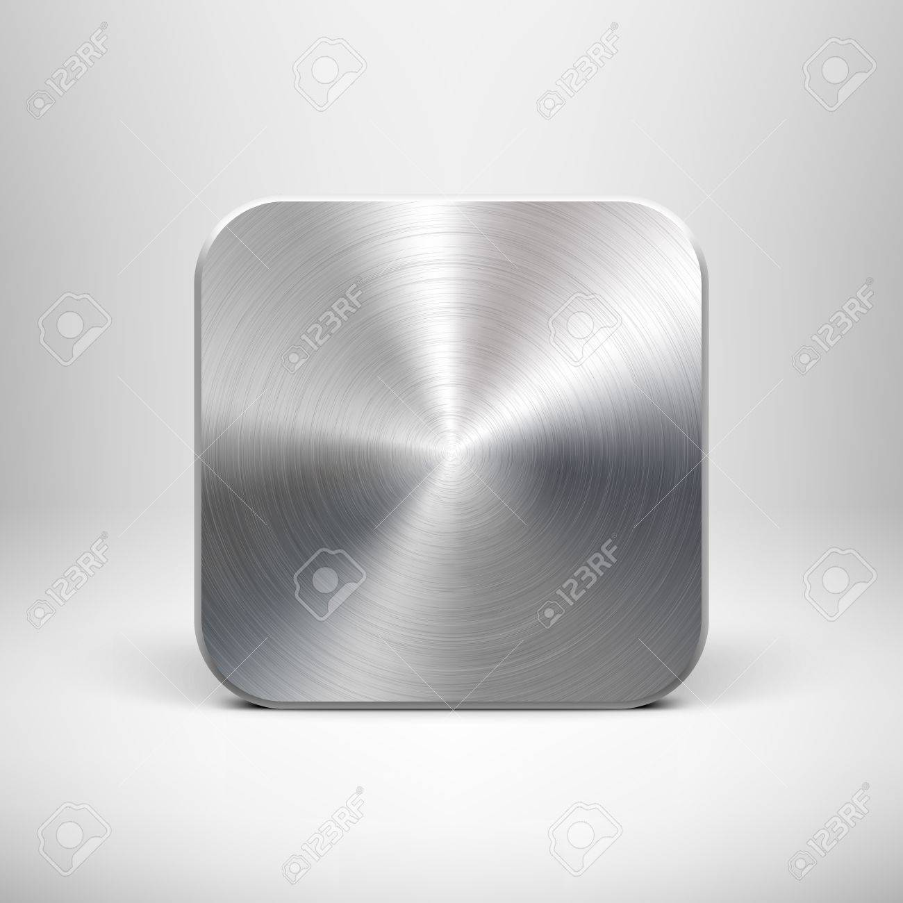 Technology Blank App Icon Button Template With Metal Texture ...