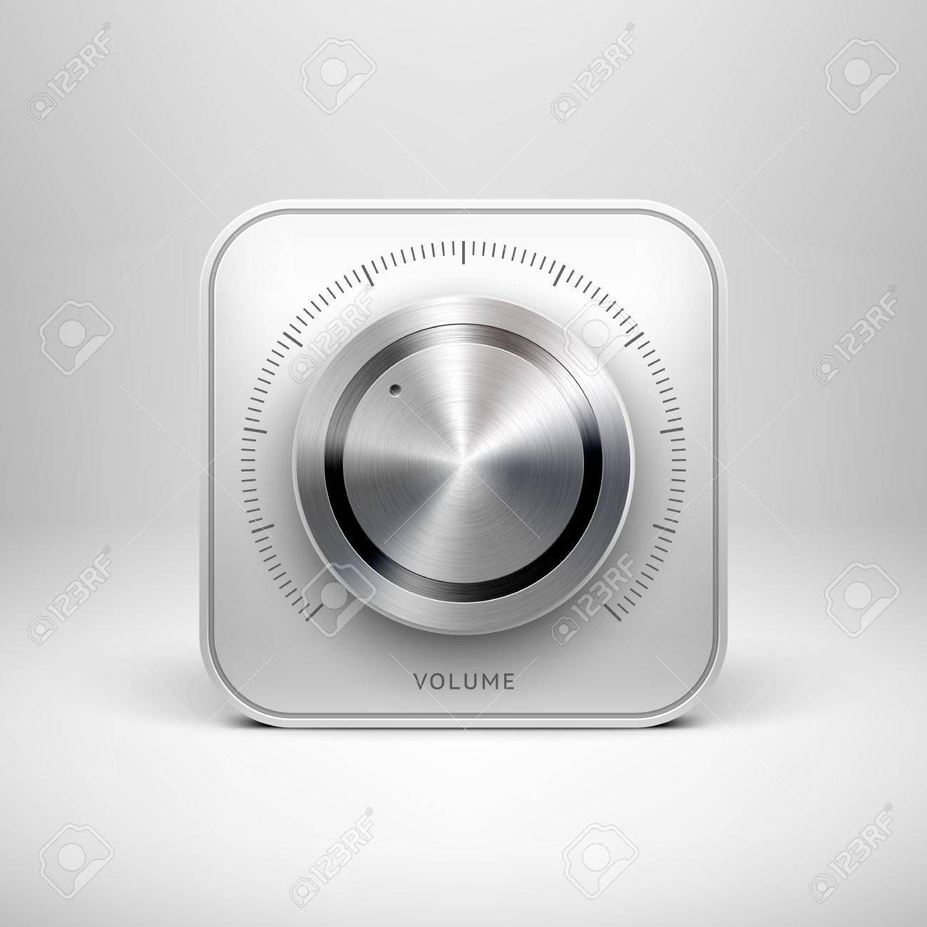 Abstract technology app icon with music button  volume, sound control knob , metal texture  stainless steel, chrome, silver , shadow and light background for web user interfaces  UI  and applications Stock Vector - 19017672