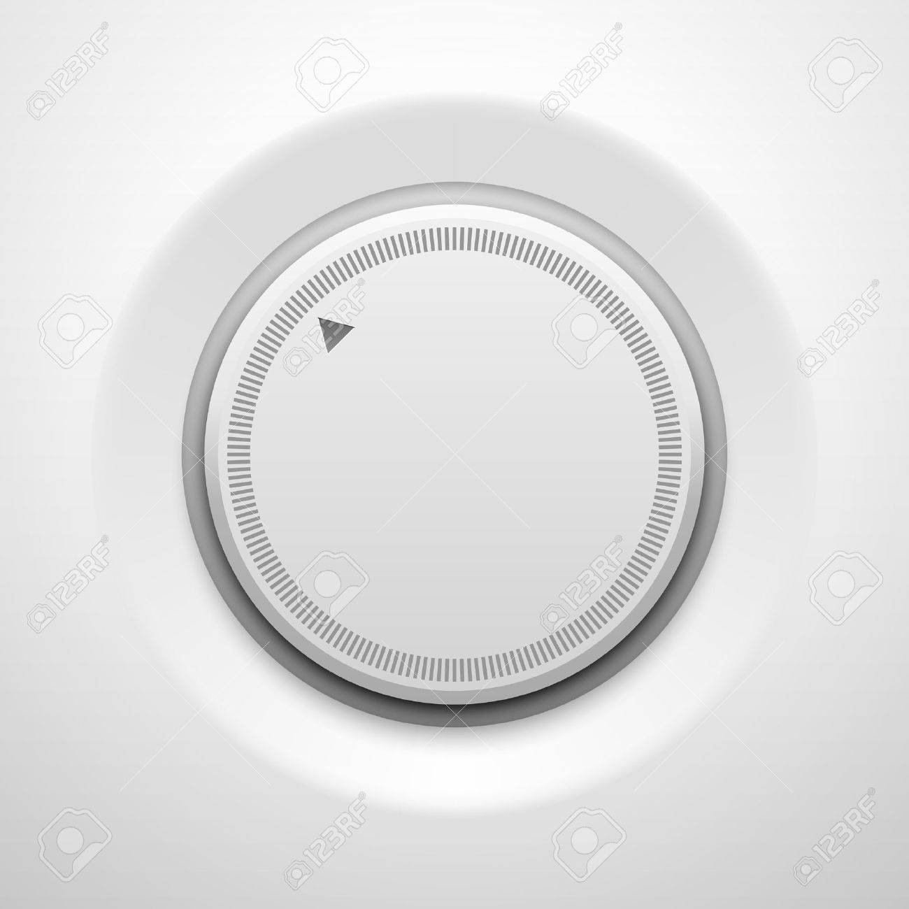 White technology music button (volume settings banner, sound control knob) with realistic shadow light background for internet sites, web user interfaces (UI) and applications (apps). Vector design. - 20367899