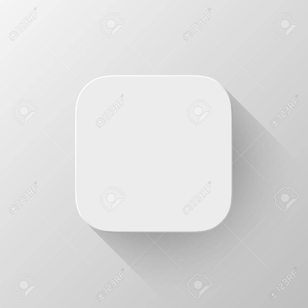 White Technology App Icon (button) Blank Template With Shadow ...