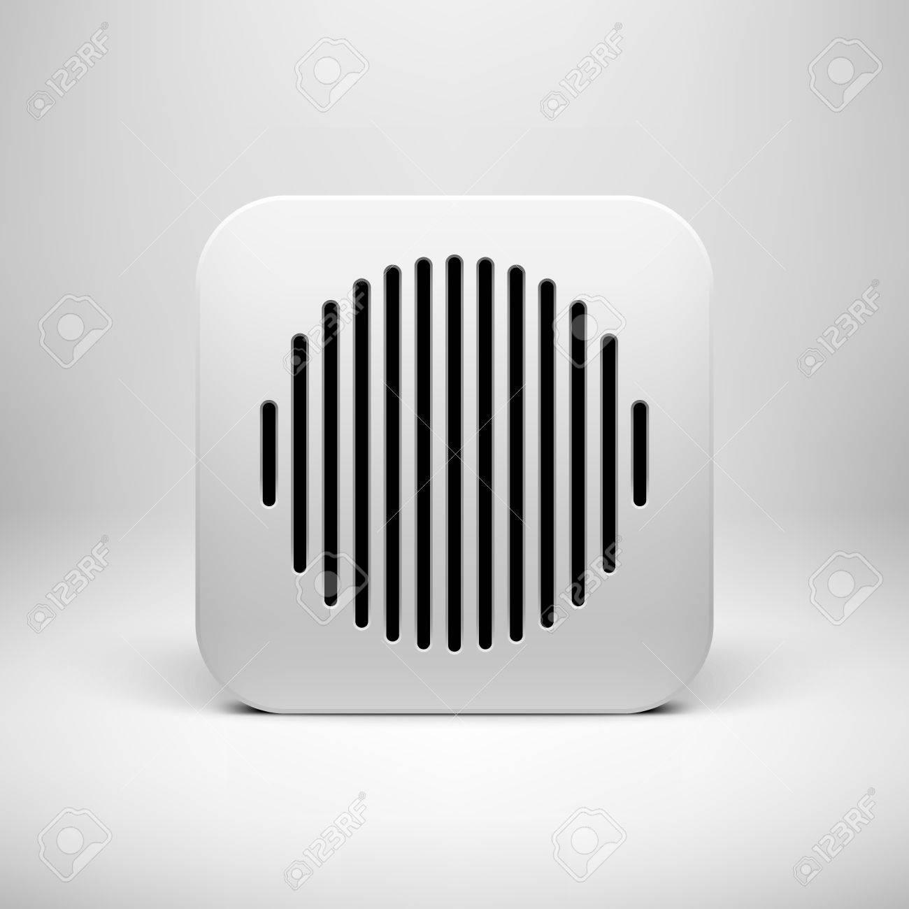 Weiß Abstrakte Technologie App-Icon, Button-Vorlage Mit Lochkreis ...