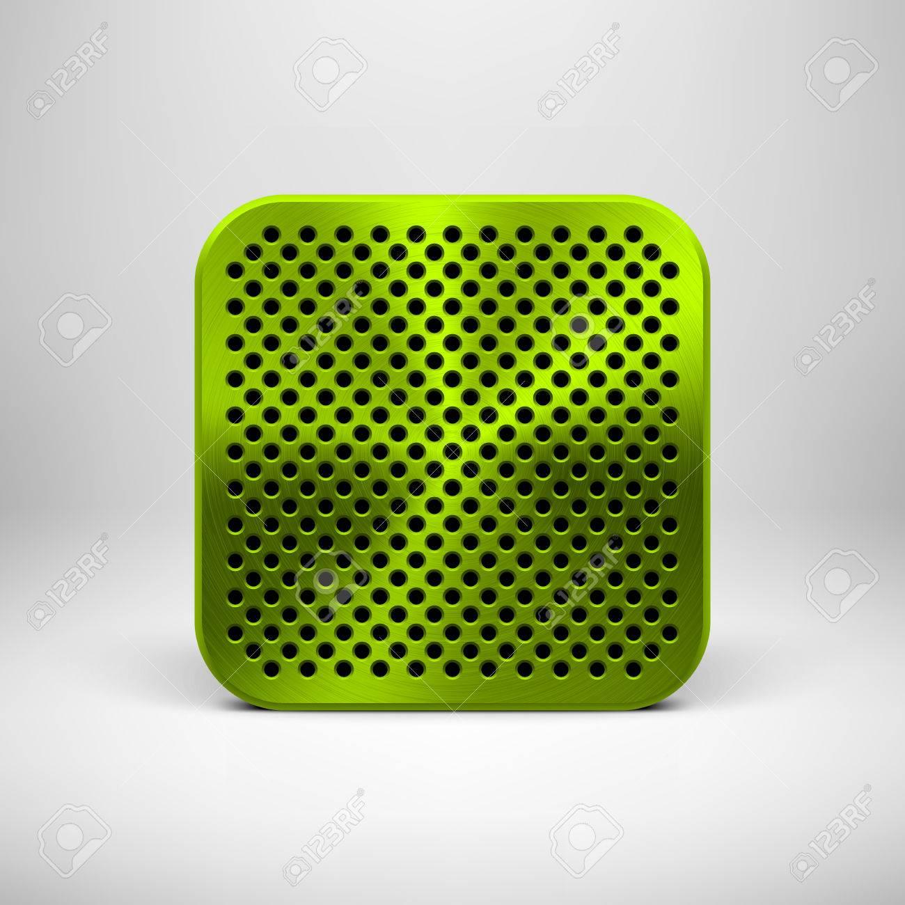 Grüne Abstrakte Technologie App-Icon, Button-Vorlage Mit Lochkreis ...