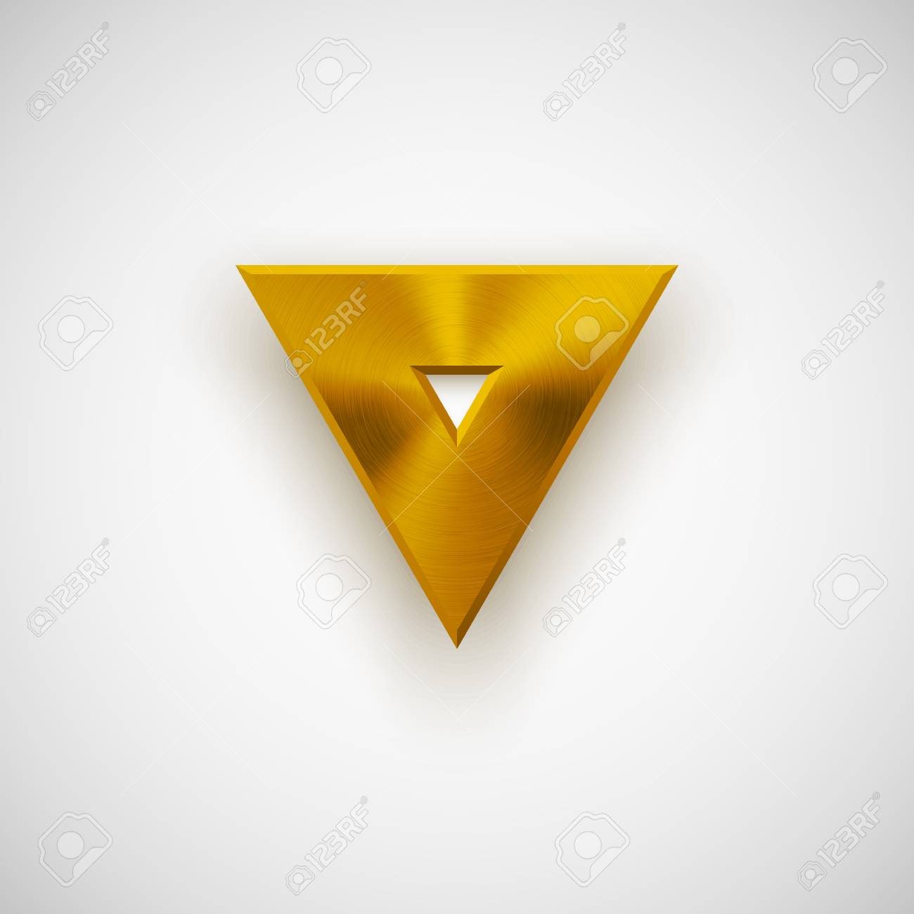 gold abstract technology triangle badge blank button template