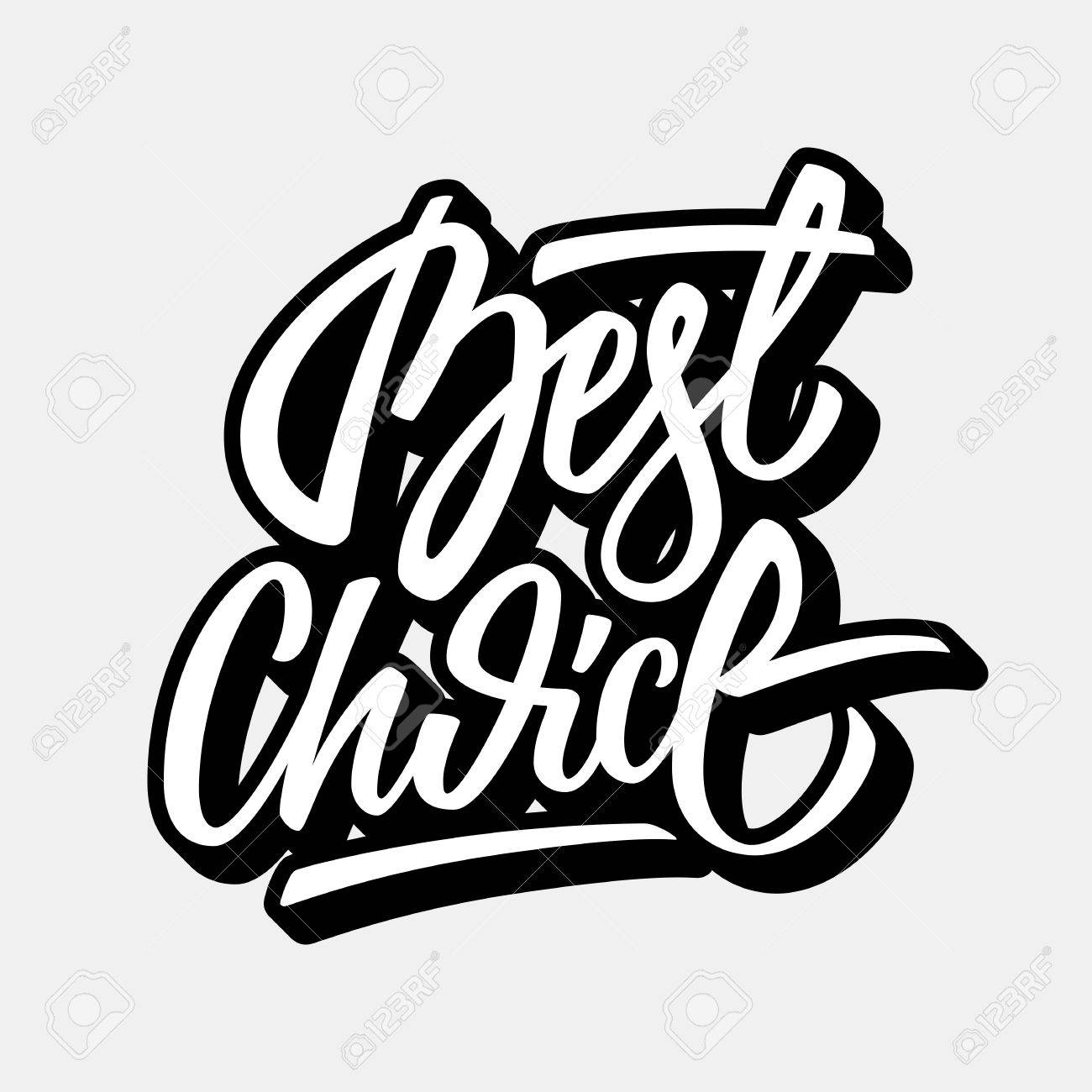 Vector White Best Choice Lettering Graffiti Style Italic Calligraphy With Outline And 3D Block Blended Shade For Design Concepts Labels Prints