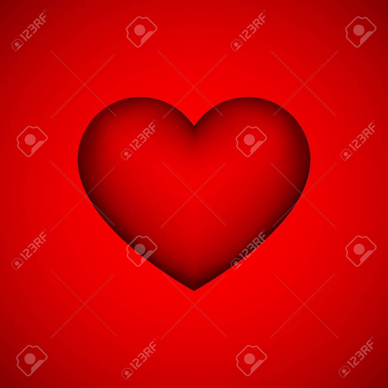 Red Heart Sign Abstract Valentines Day Blank Button Template
