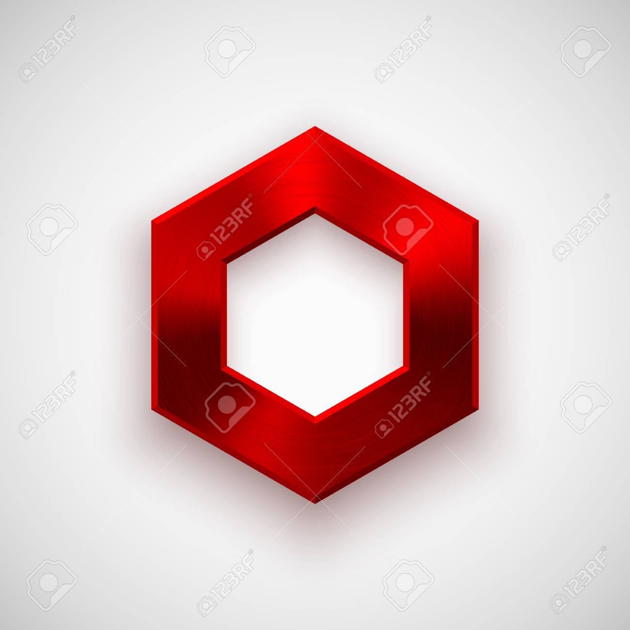 red abstract technology polygon hex badge blank button template
