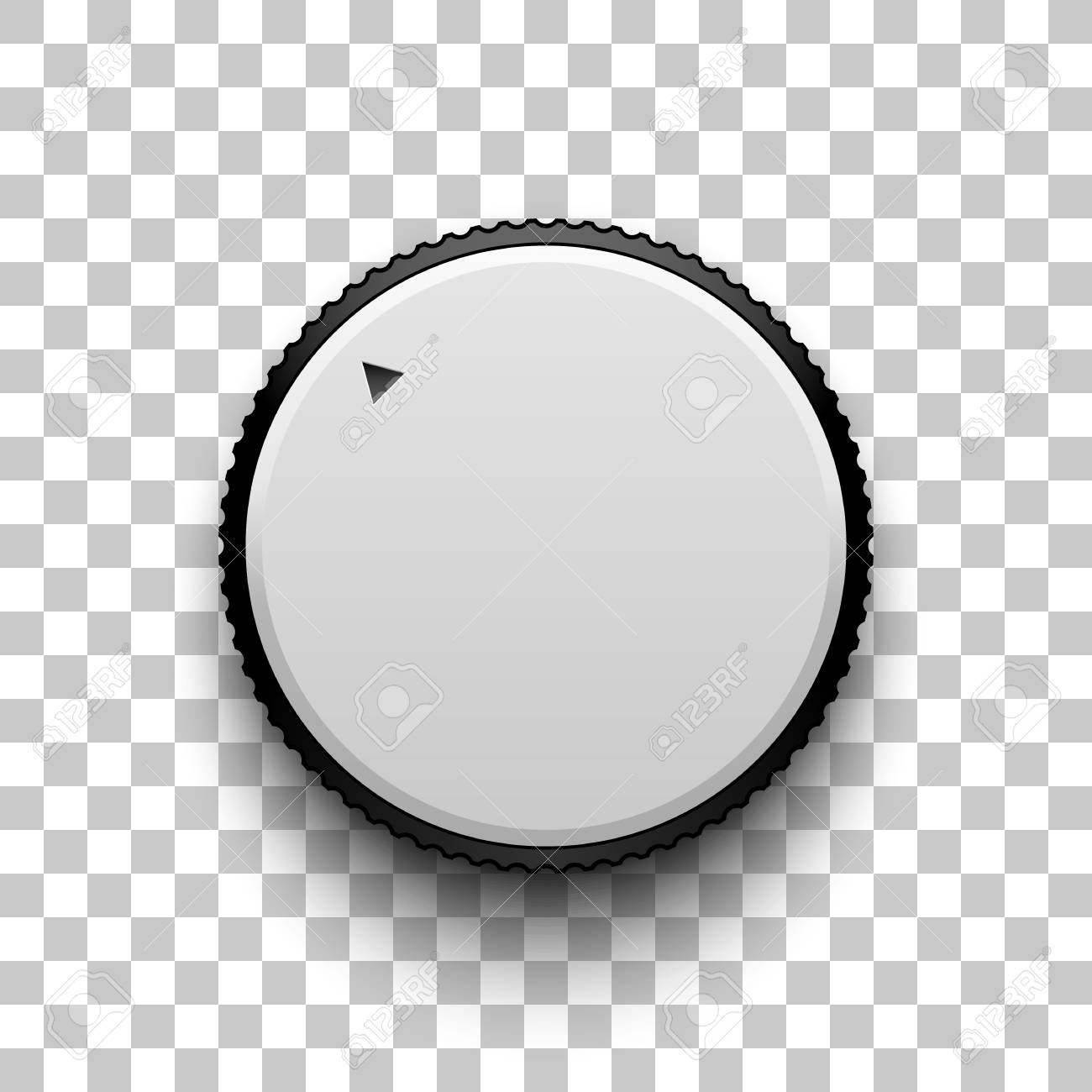 White Technology Volume Knob Music Button With Realistic Designed
