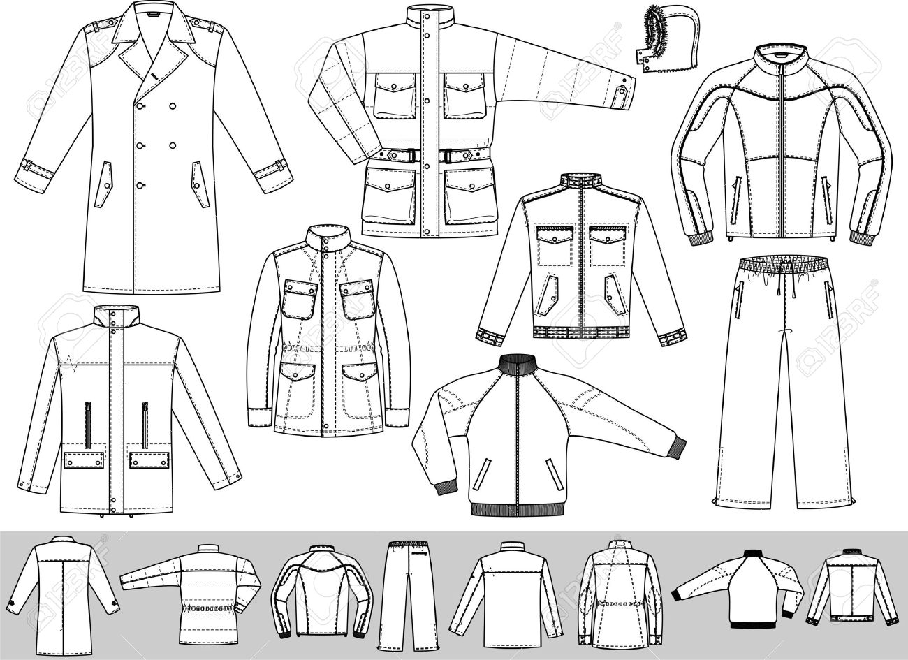 The Clothes For Men Consist Of A Raincoat A Jacket And A Sports