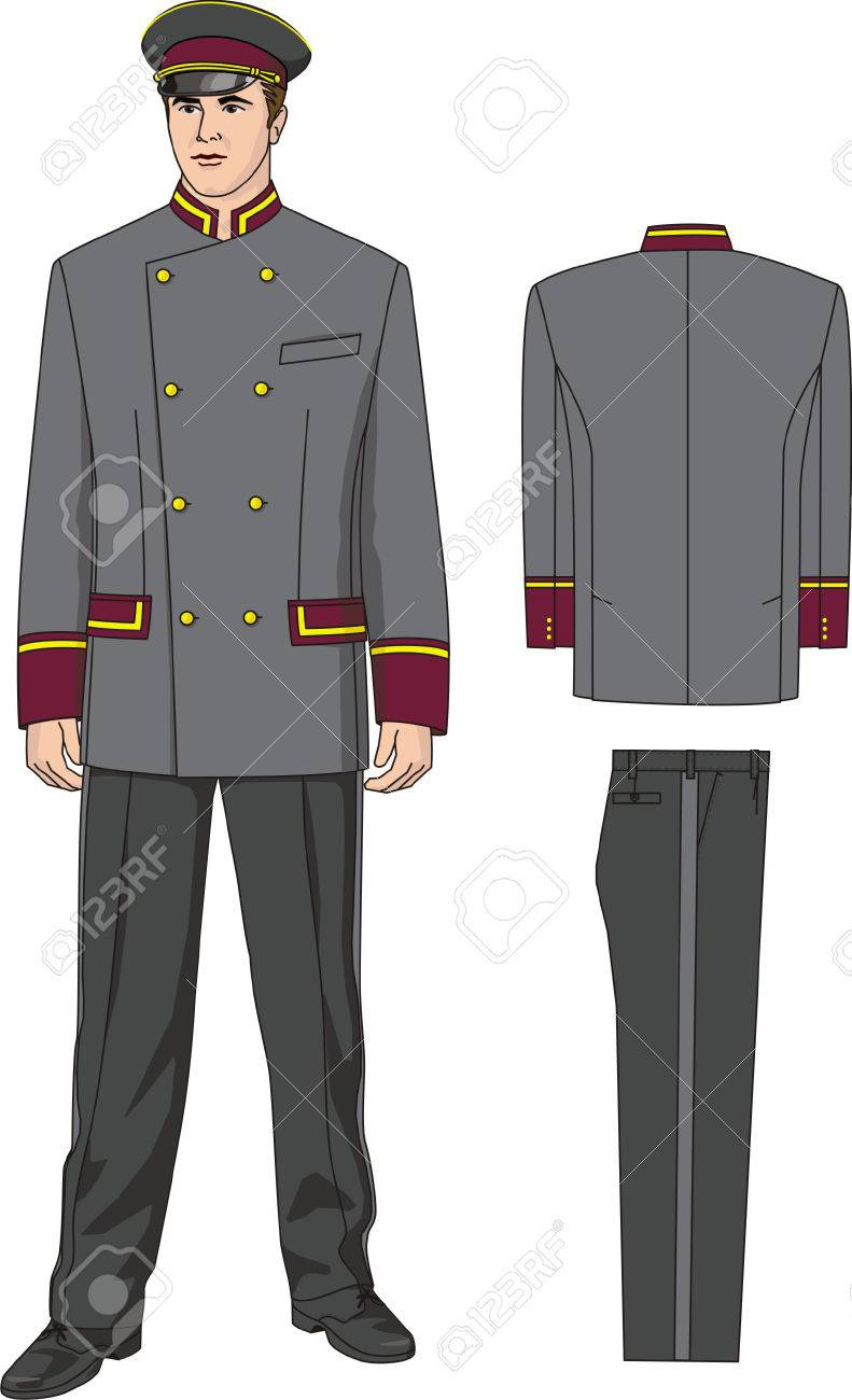 The suit of the door-keeper consists of a jacket trousers and a peak