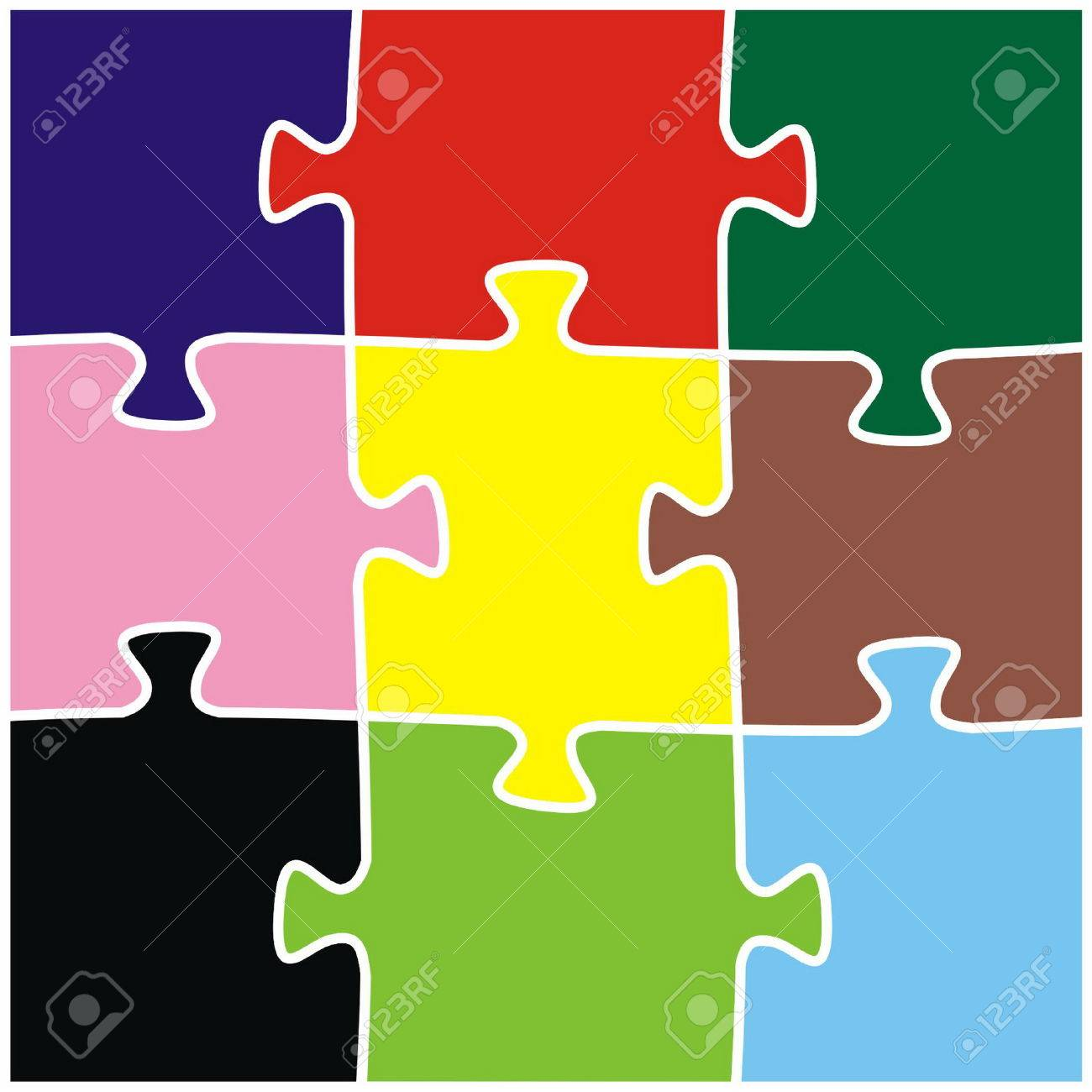 The puzzle colour consists of nine parts Stock Vector - 5555763