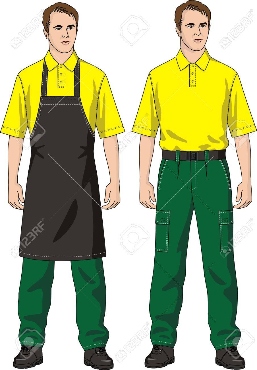The man in an apron and trousers with pockets Stock Vector - 8423741