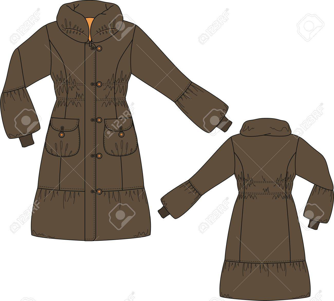Coat female with long sleeves and pockets Stock Vector - 8576270