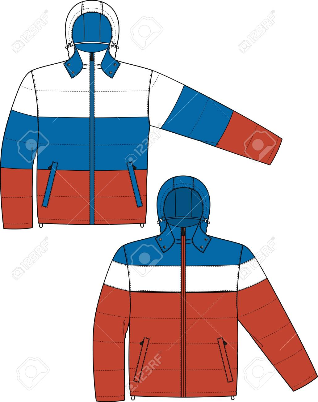Jacket sports with a long sleeve and pockets Stock Vector - 8931858