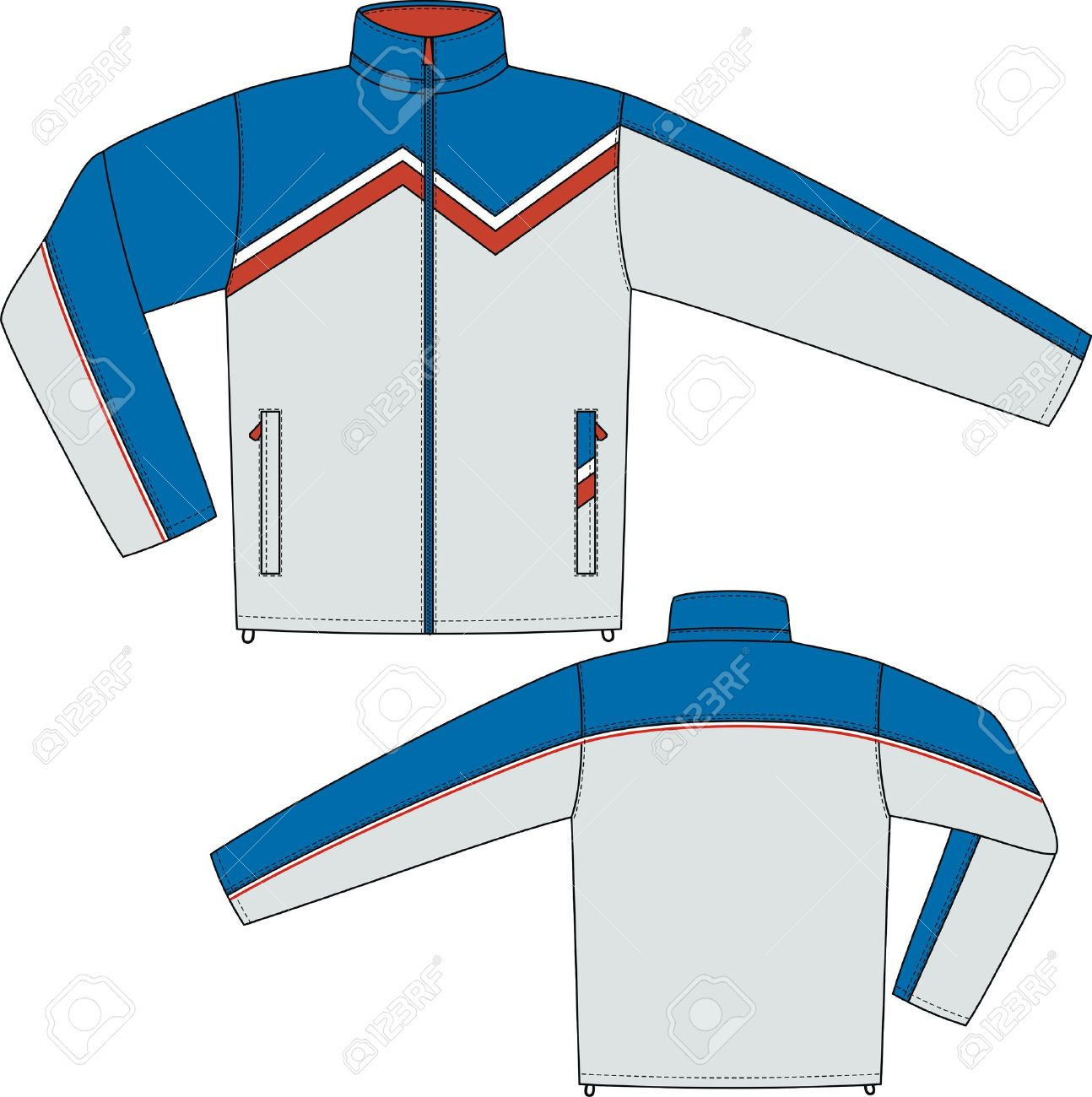 Jacket sports with a long sleeve and pockets Stock Vector - 8931831
