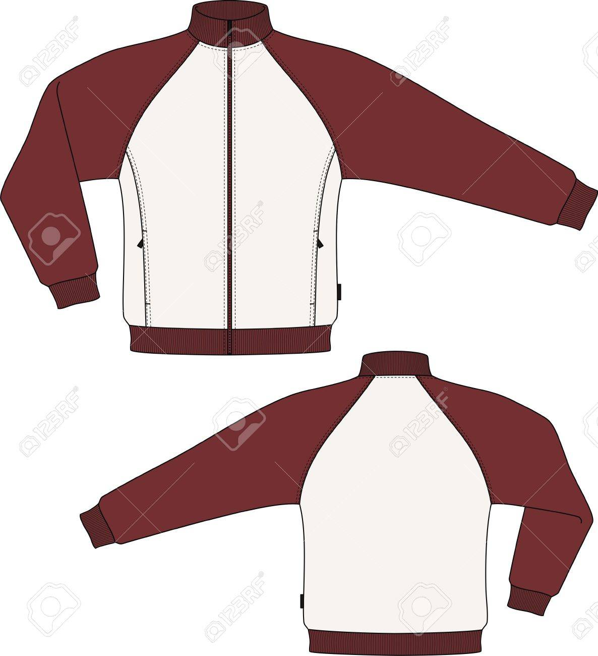 Jacket knitted with a long sleeve and pockets Stock Vector - 8931836