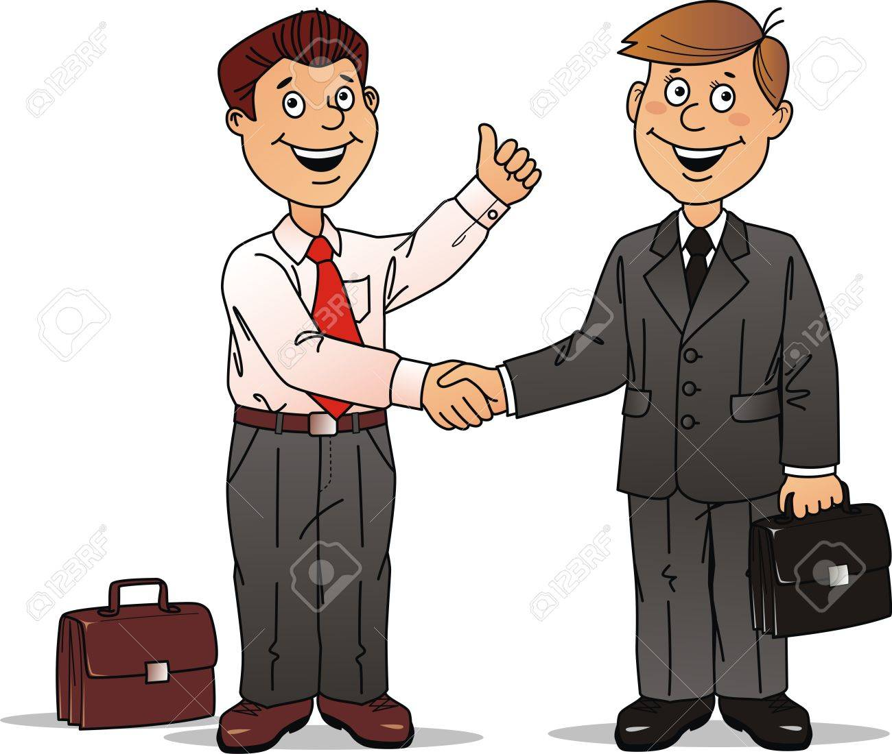 Two businessmen press each other hands after the good bargain Stock Vector - 10465014