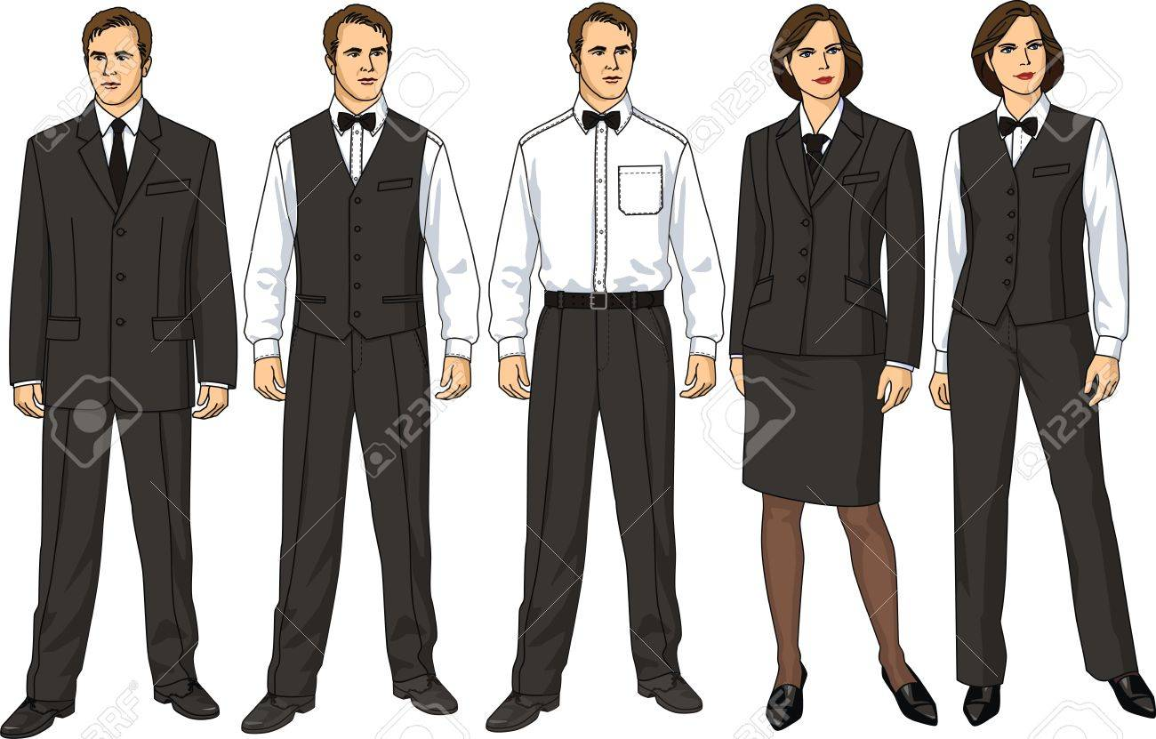 The female and man's form of clothes for waiters Stock Vector - 10614209