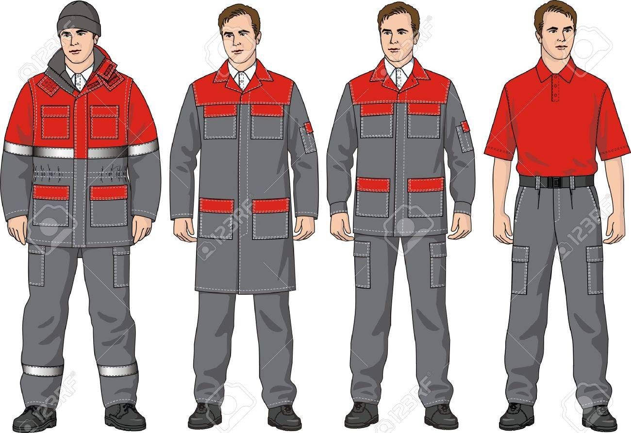 The clothes complete set consists of a jacket, trousers, a dressing gown, a T-shirt and a cap Stock Vector - 10614226