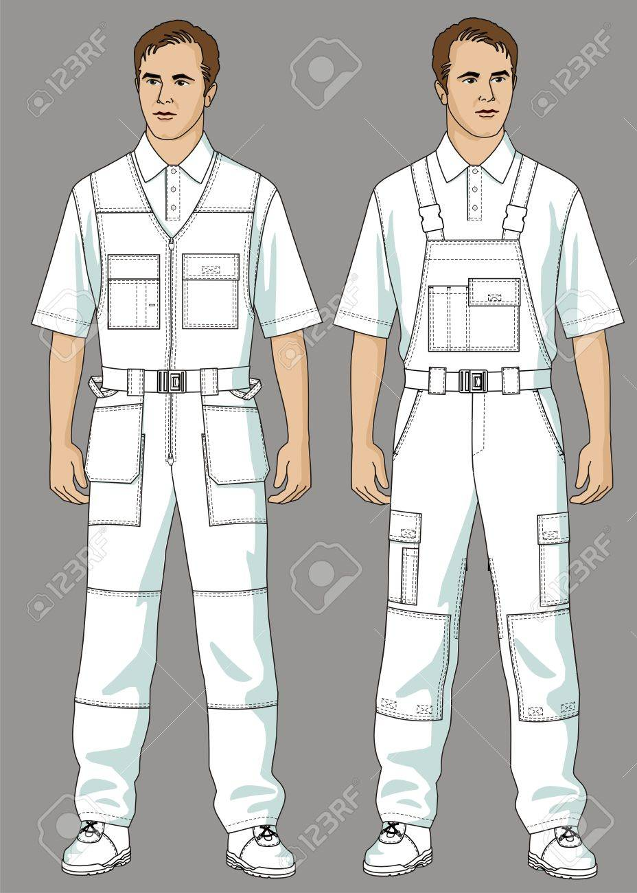 Men are dressed in white overalls and a T-shirt Stock Vector - 10645139
