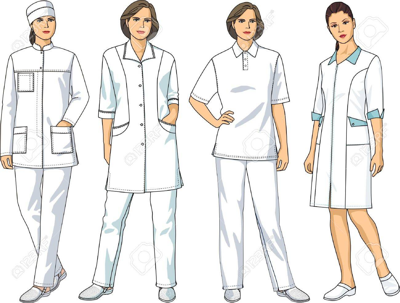 The complete set of medical clothes consists of a jacket, trousers and a dressing gown Stock Vector - 10857432