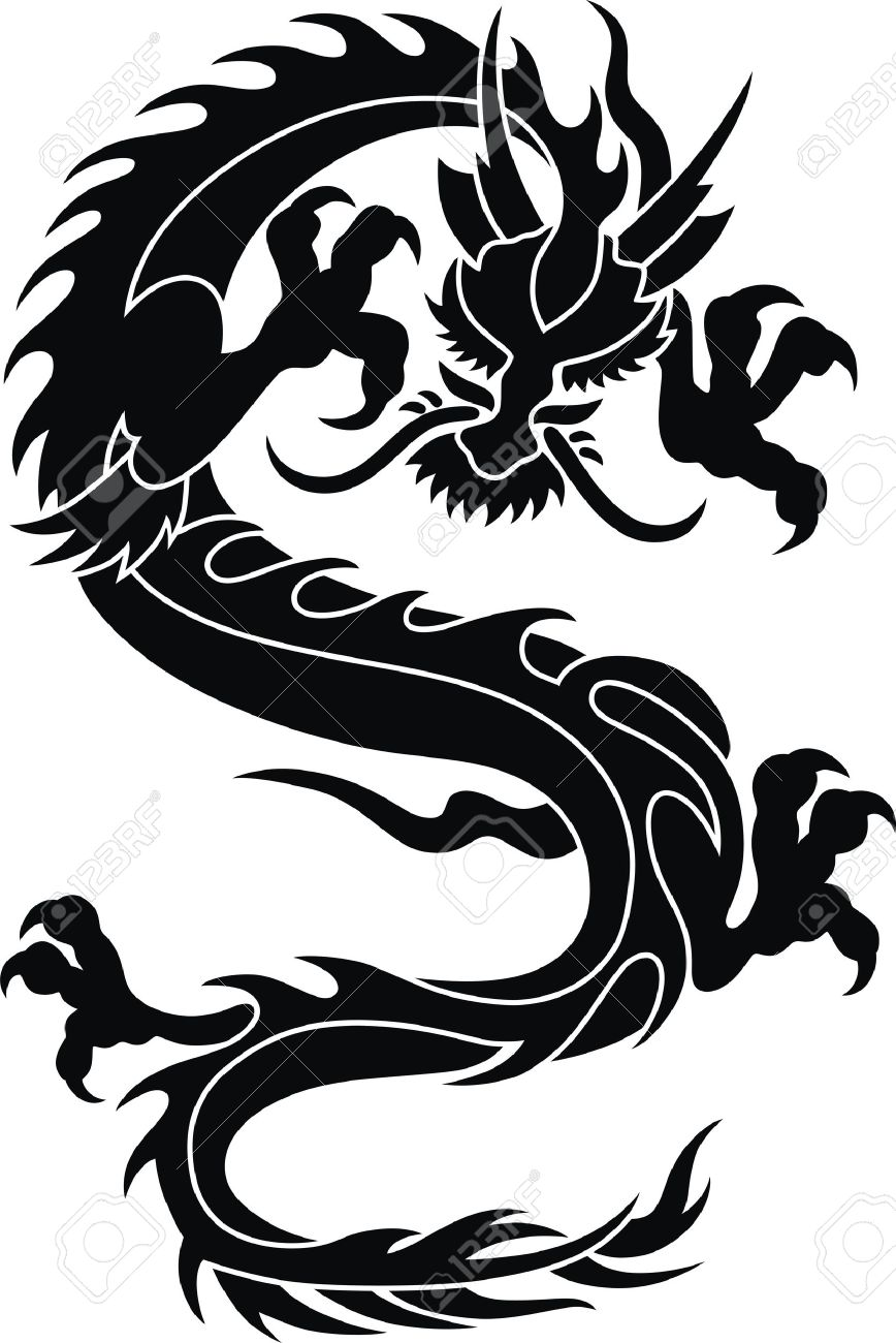 The stylized dragon in the form of a tattoo Stock Vector - 11535669