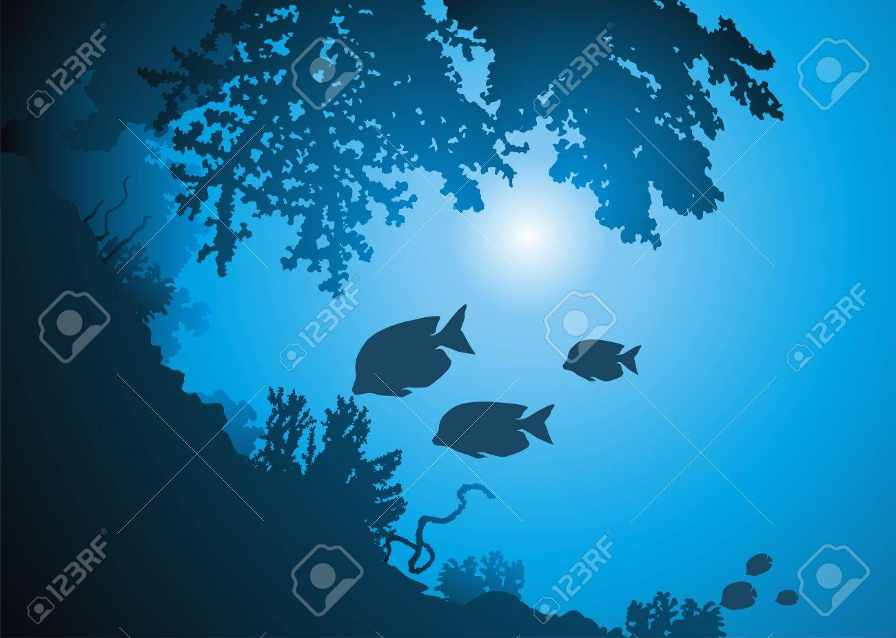 Oceanic corals and jambs of fishes against the sun Stock Vector - 11770777