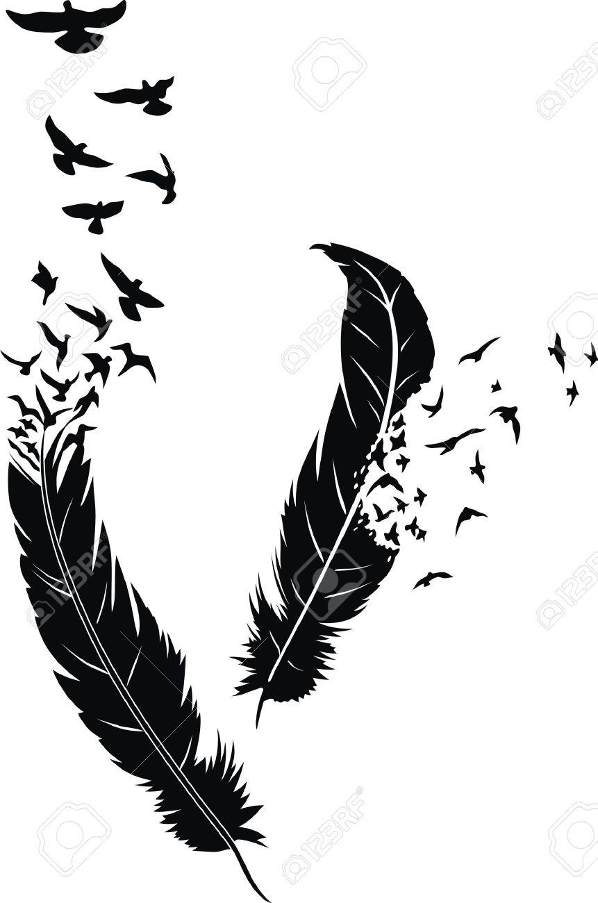 SOUVENIRS ET SOURIRES D'HIER 12040706-deux-plumes-stylis%C3%A9es-avec-des-oiseaux-de-diffusion-dans-la-forme-d-un-tatouage