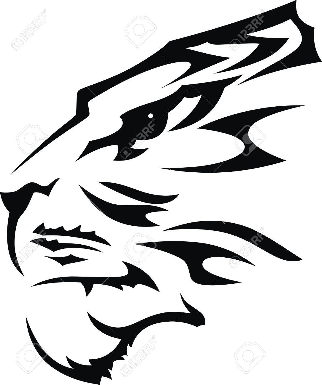 The stylized muzzle of a tiger in the form of a tattoo Stock Vector - 12164241