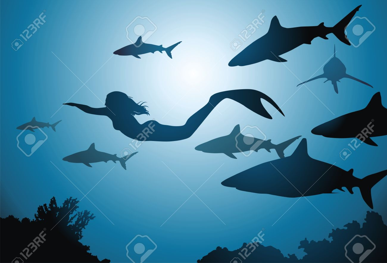 the mermaid and flight of sharks float among reeves royalty free