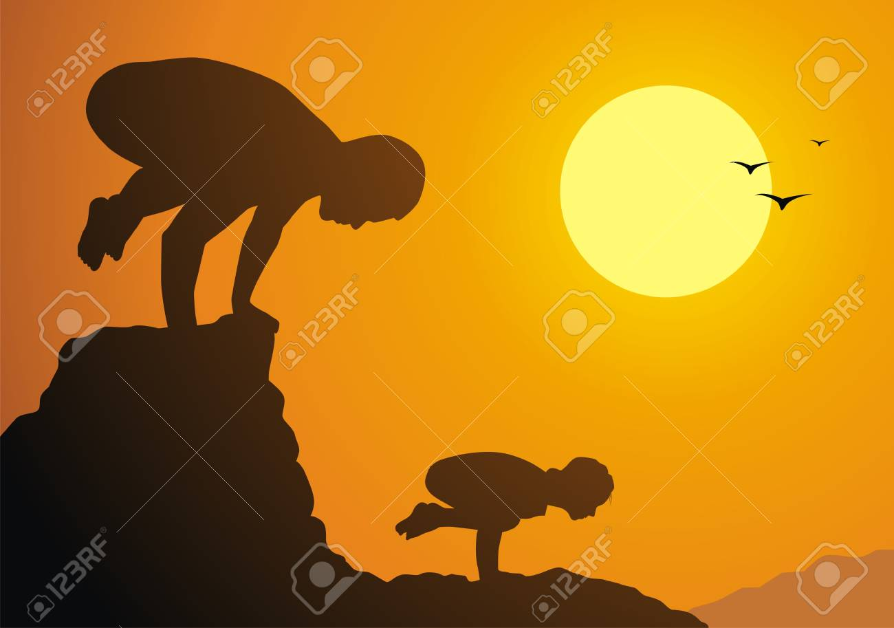 The father with the daughter practice yoga against a sunset Stock Vector - 13168481