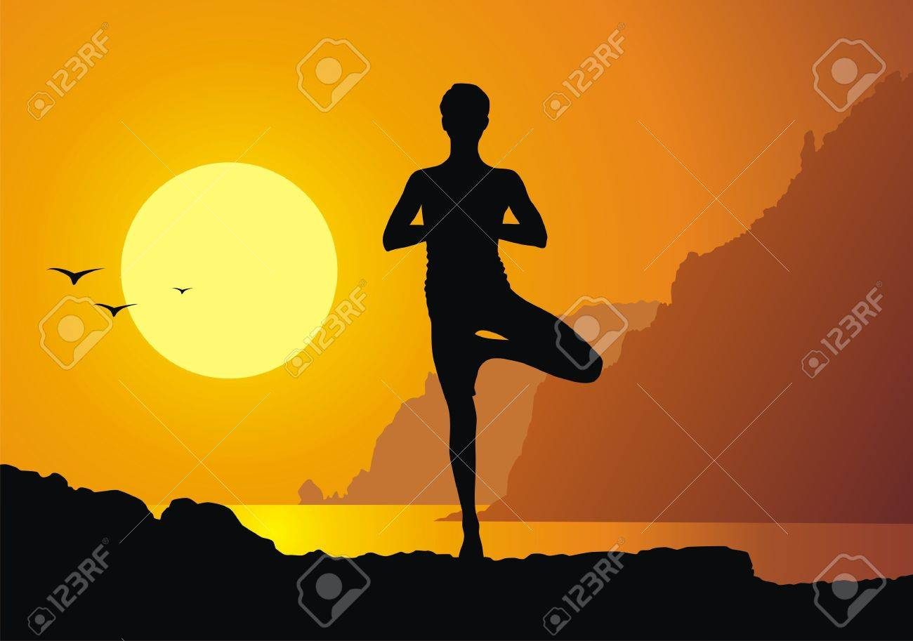 The girl practice yoga against a sunset Stock Vector - 13168483